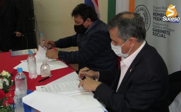 Coordinador general del Gabinete Social, ministro Hugo Cáceres, y el intendente nepomuceno, Néstor Orlando Rojas.